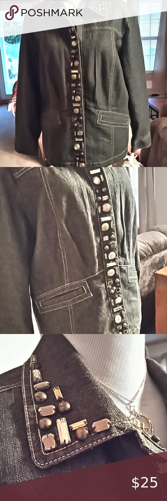 Ruby Rd Stretch Jean Jacket Gray Gold Size 14 Embellished Denim Jacket Light Wash Denim Jacket Lightweight Denim Jacket [ 1740 x 580 Pixel ]
