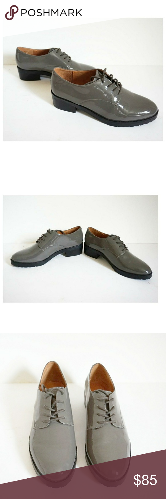 New Concept Rebecca Minkoff Gray Phoebe Patent leather Oxfords