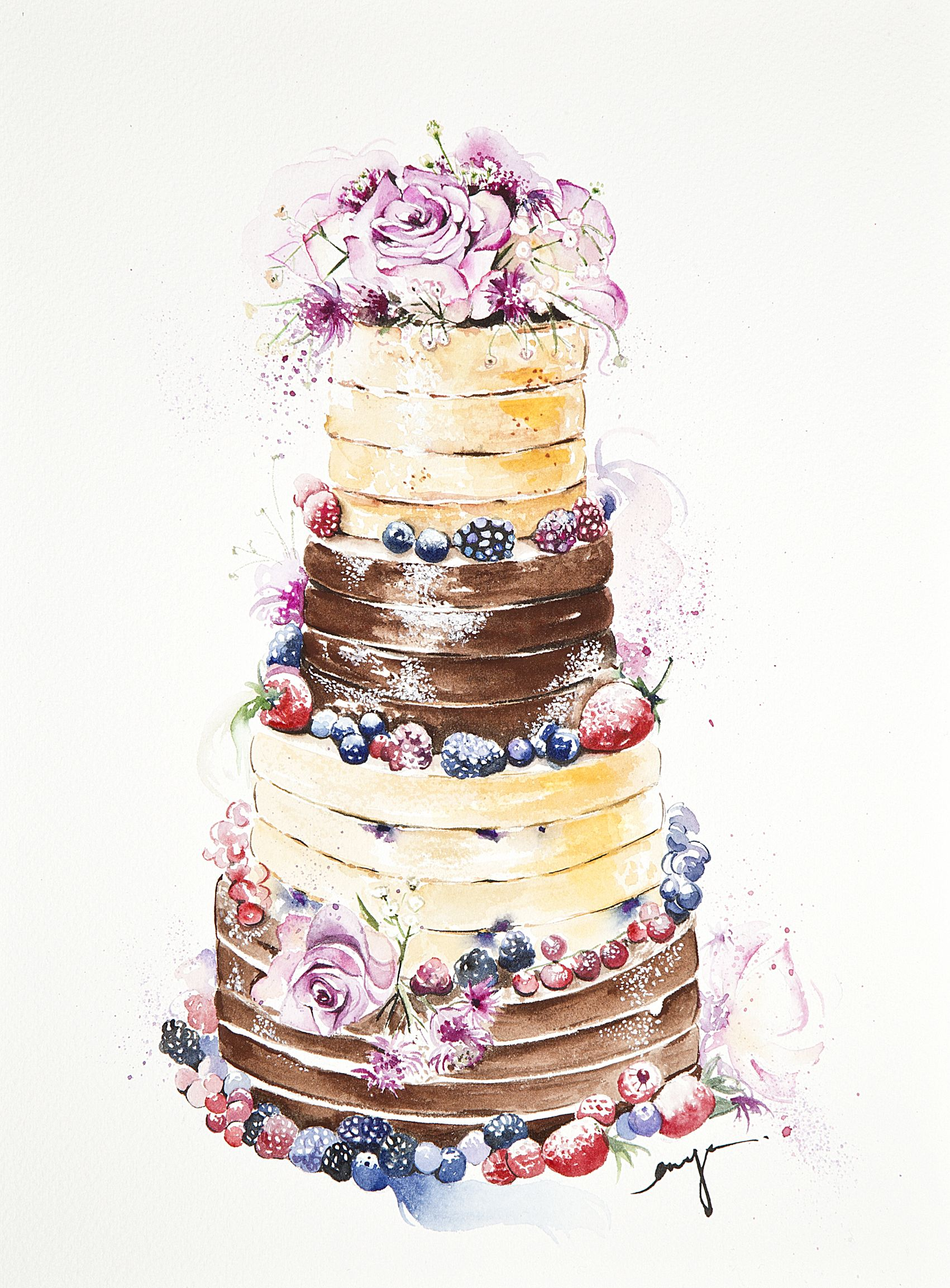 Watercolor Of Cake Cake Drawing