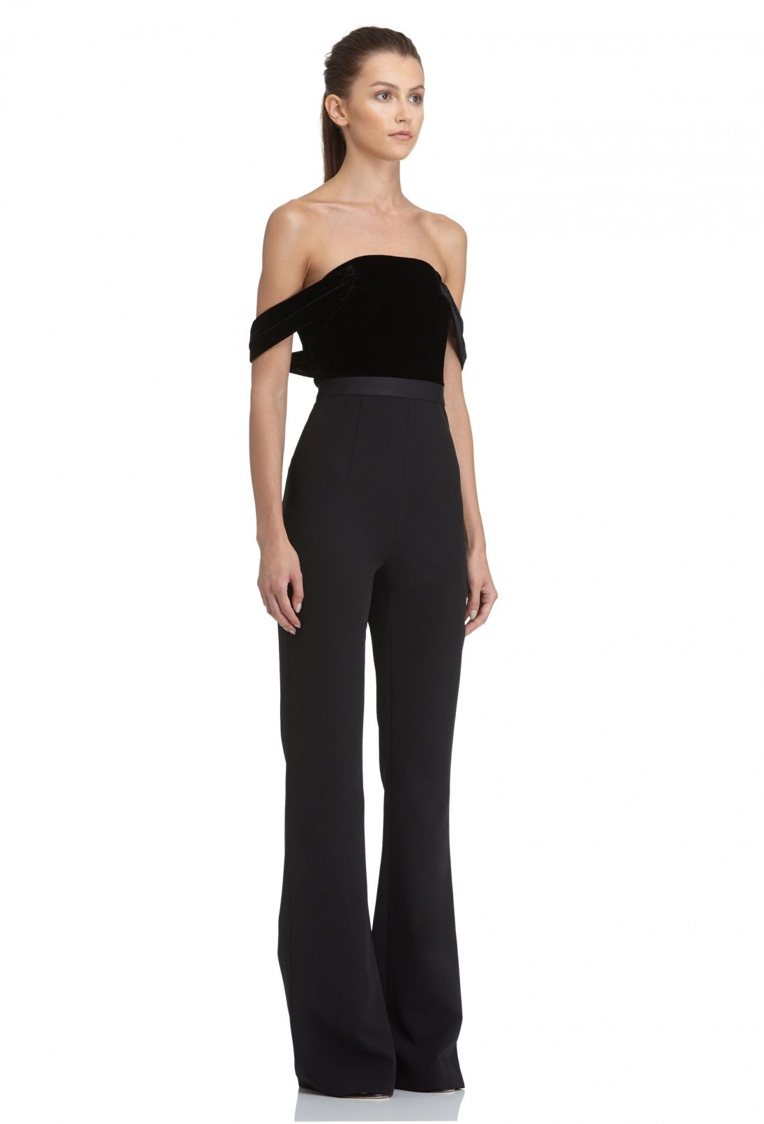Francesca Wide Leg Jumpsuit With Velvet Off The Shoulder Top Black