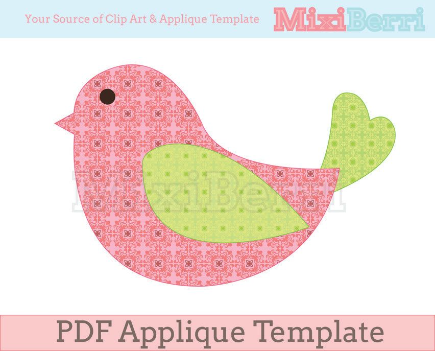 Bird Applique Template Pdf Instant Download | Bird Applique, Craft