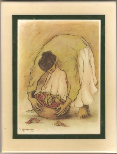 RC Gorman Ceramic Art Tile of A Woman with Bowl of Chilies ...