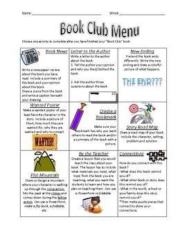 Book Club Choice Menu Book Club Choice Menu Book Club Menu