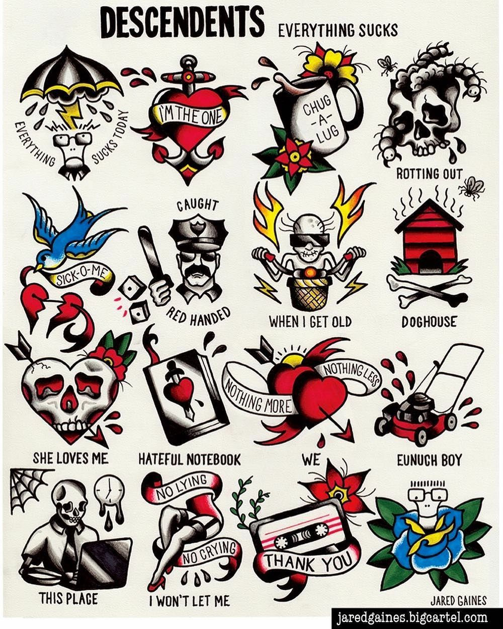 Descendents Flash Traditional tattoo art, Retro tattoos