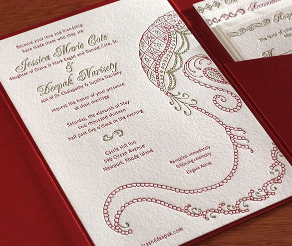 This gorgeous letterpress wedding invitation design features a hindu indian letterpress wedding card and stationery design gallery baraat by invitations by ajalon stopboris Choice Image