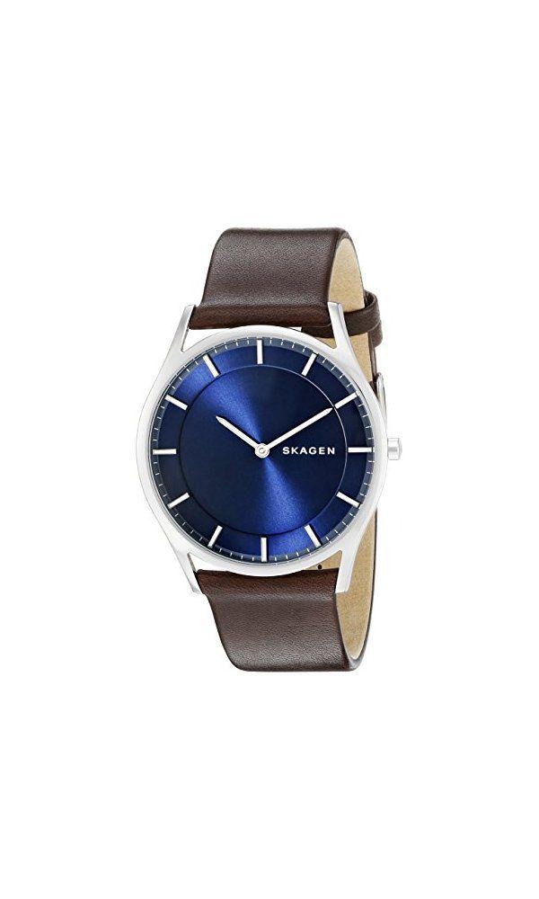 59cc6a14564c74 155  - Skagen Men s SKW6237 Holst Dark Brown Leather Watch from Skagen- The  Holst has a soft Skagen leather strap and slim profile that won t catch  your ...