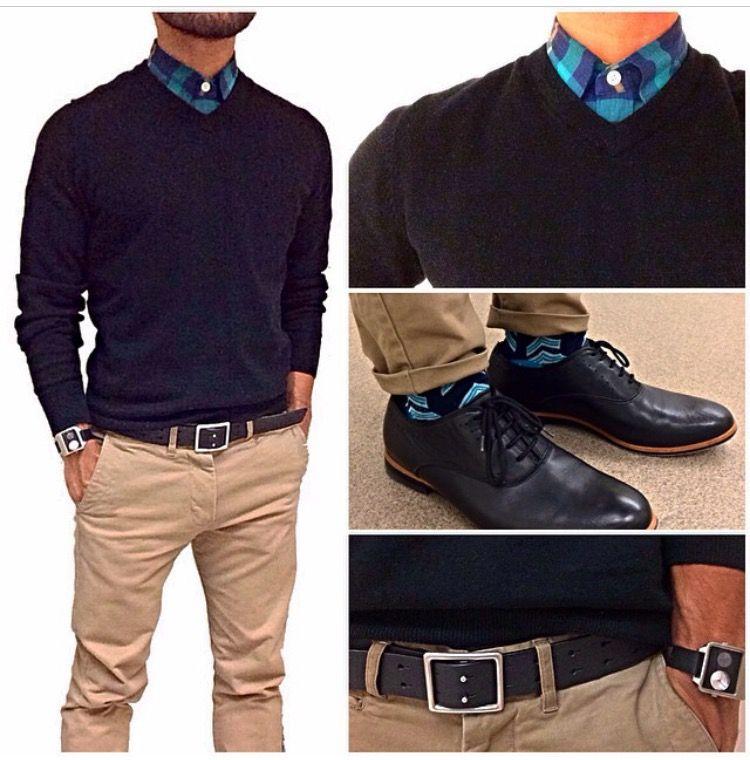 innovative design b2782 a9e77 pantalón beige... suéter cuello V negro camisa azul negra de cuadros y  zapatos y…