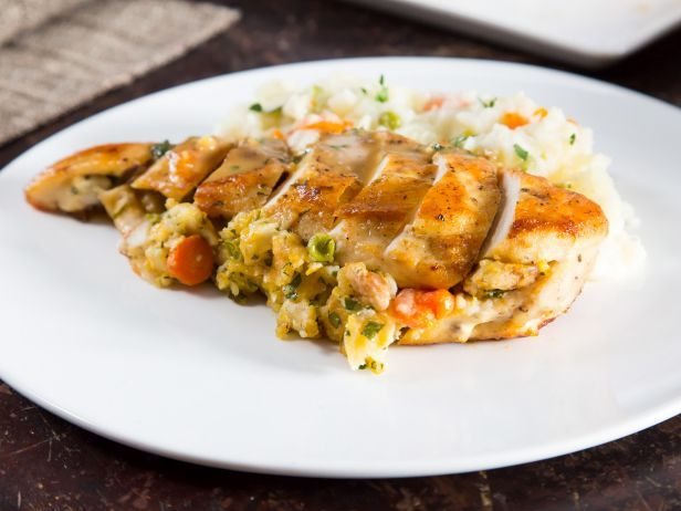 Pot pie stuffed chicken breasts with pot pie mashed potatoes and pot pie stuffed chicken breasts with pot pie mashed potatoes and pan gravy from food network forumfinder Images