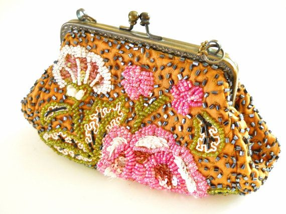 Silk Evening Bag, MOYNA, Glass Beads, Brass Chain, Vintage, Floral Pink Bronze