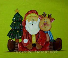 pintura em tecido estilo country de papai noel com rena e arvore de natal