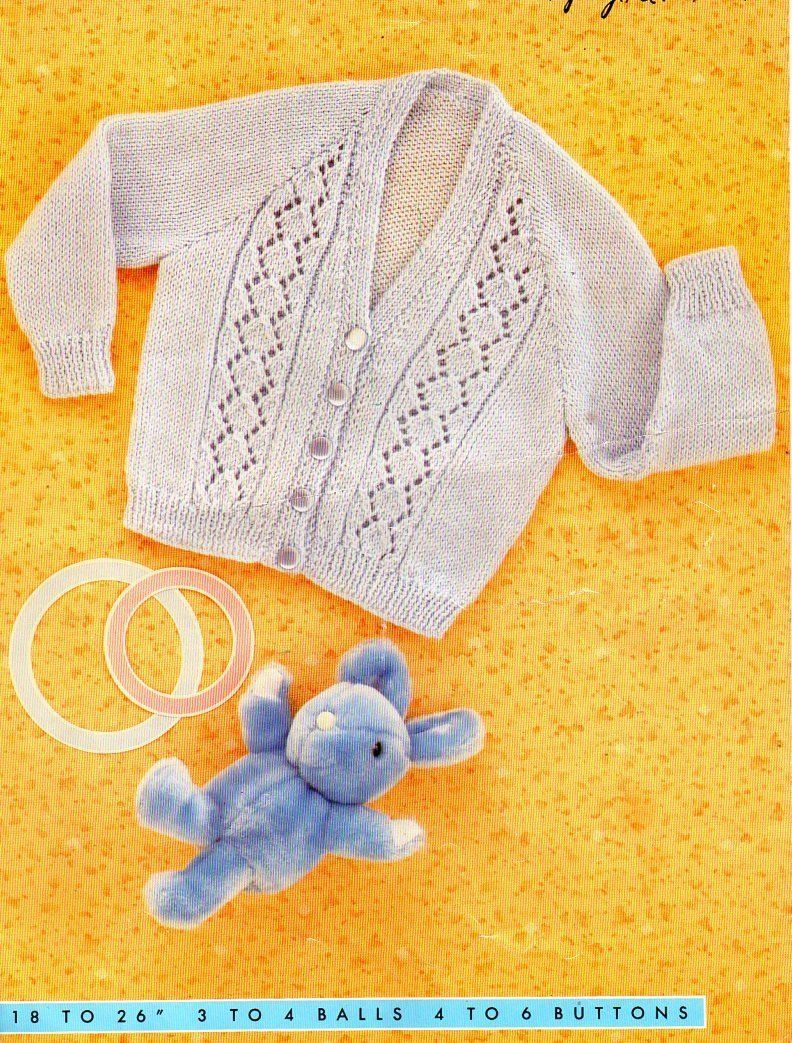 82b9f45aa baby childrens cardigan knitting pattern pdf childs jacket 18-26 ...