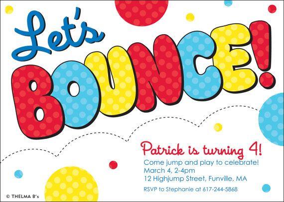 Bouncy House Party Invitation Custom Printable Bounce by ThelmaBs – Bouncy Castle Party Invitations