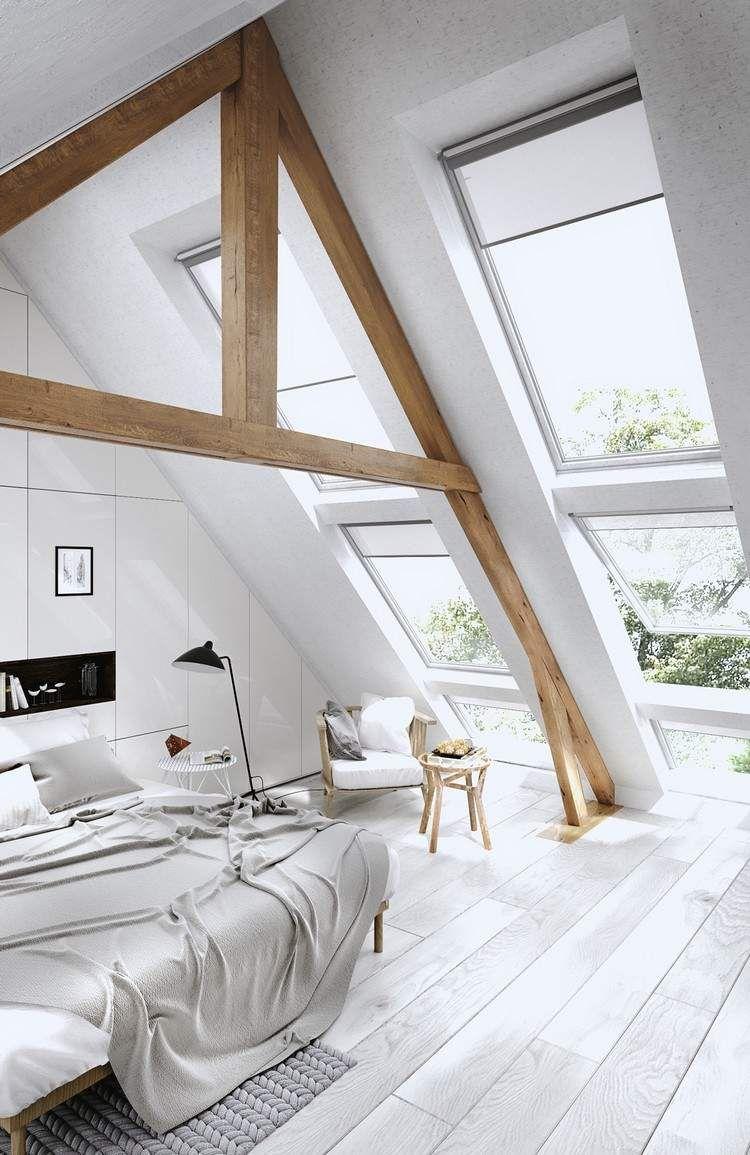 chambre sous combles de style scandinave, charpente en bois massif ...