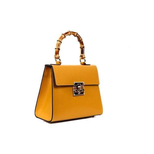 Bolsa de couro importada da Itália com alça de bambu na cor amarela