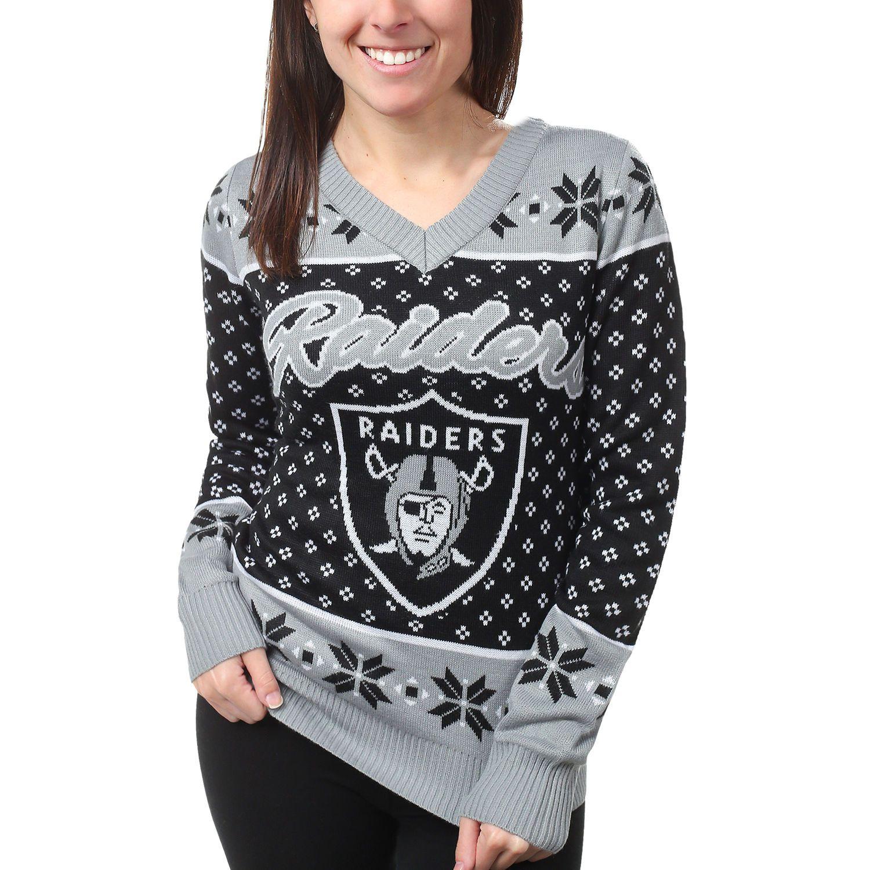 Women's Oakland Raiders Klew Black Big Logo V-Neck Sweater