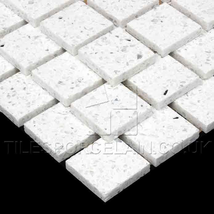 Quartz Bathroom Tiles: Diamond White Quartz Mosaics