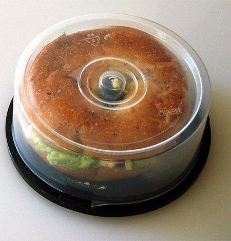 Old CD spindle case turned bagel holder - Yep, definitely the greatest.