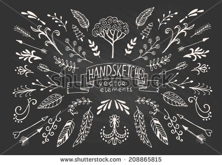 Hand Drawn vintage floral elements. Set of flowers, arrows, icons and decorative elements. - stock vector