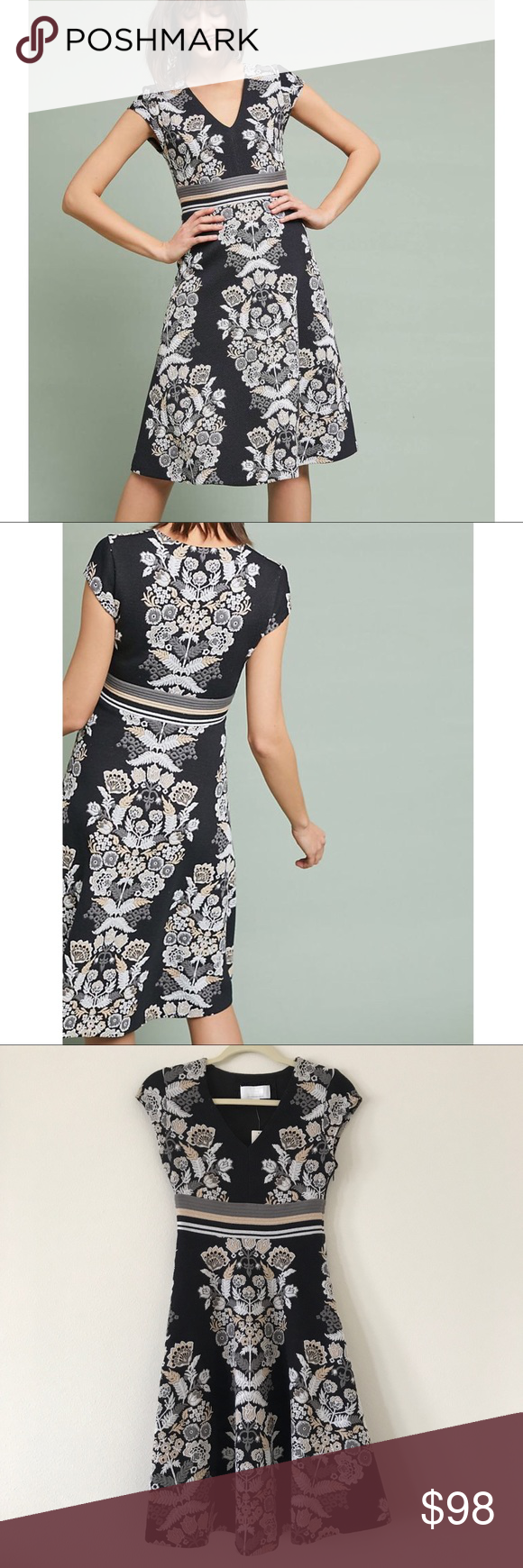 54b6c13ab271 Anthropologie Dress Soiree Embroidered Dress by Anthro brand ett:twa Thick  textured material with beautiful