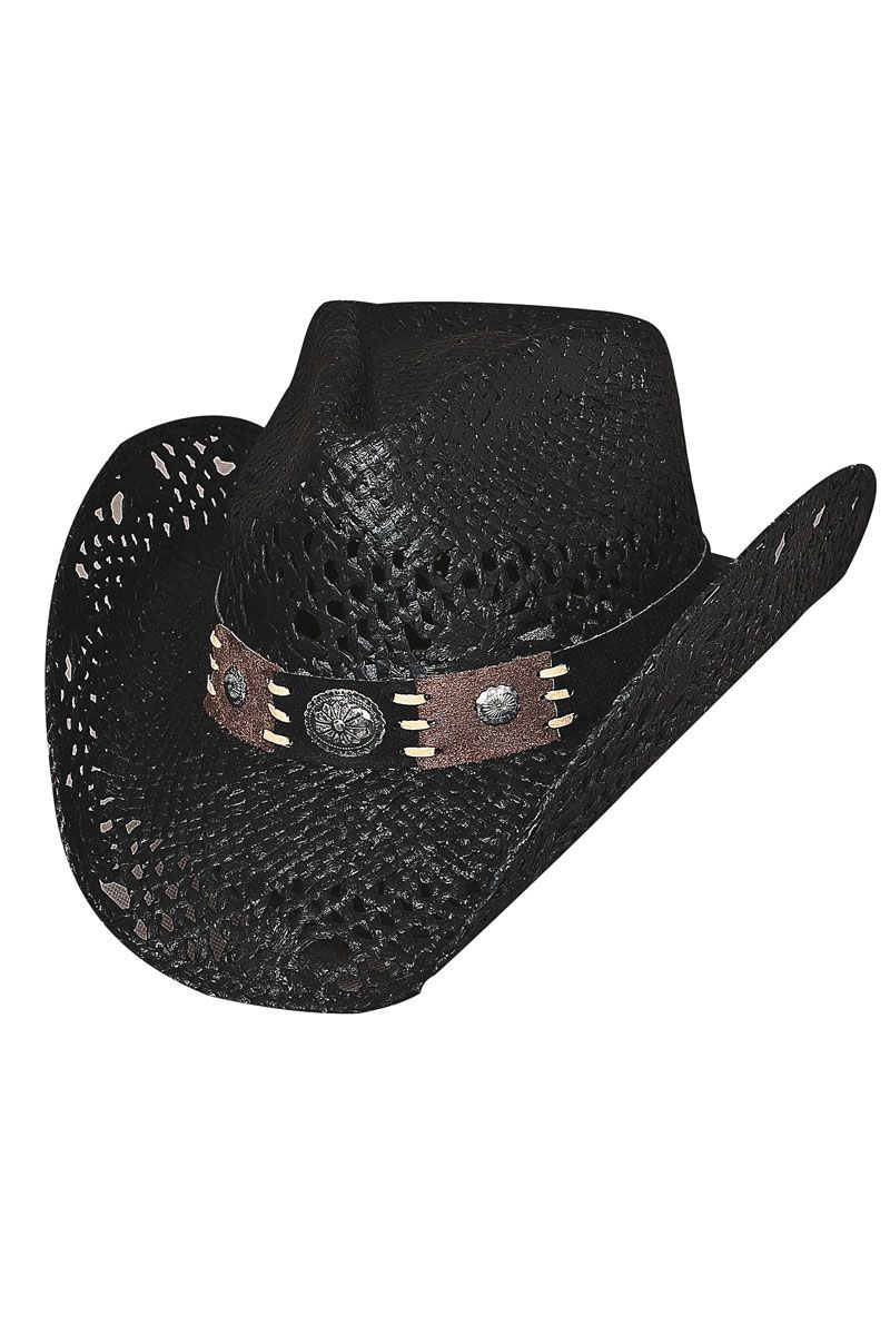 Bullhide Pure Country Black Straw Cowboy Hat  summer  beach  concert ... 523882096abc