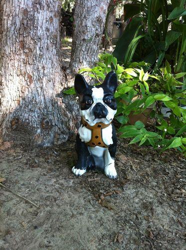 Vintage Boston Terrier Dog Concrete Cement Garden Statue ANTIQUE French  Bulldog