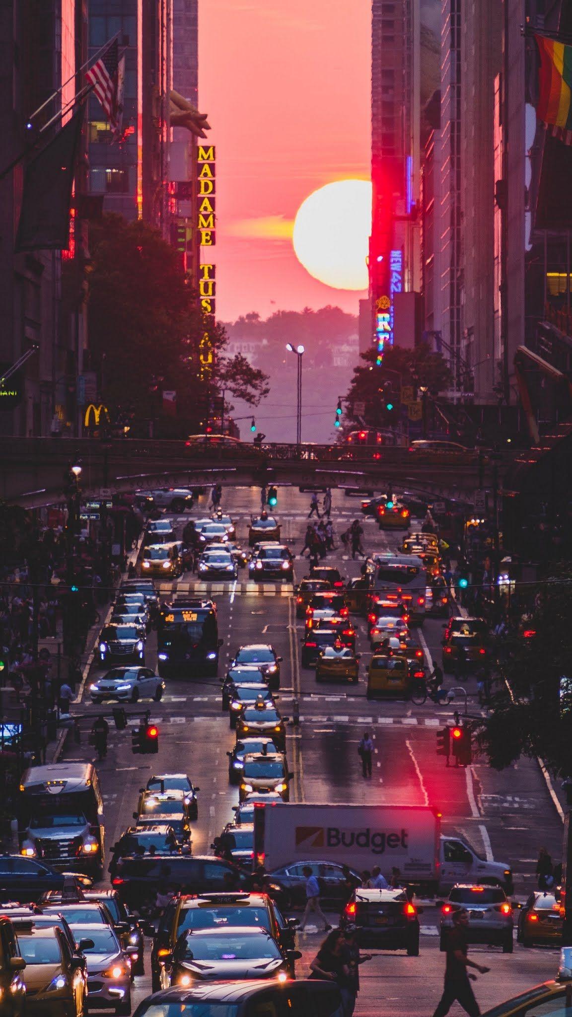 New York City Street Sunset Mobile Wallpaper Sunset City City Wallpaper Sunset Wallpaper
