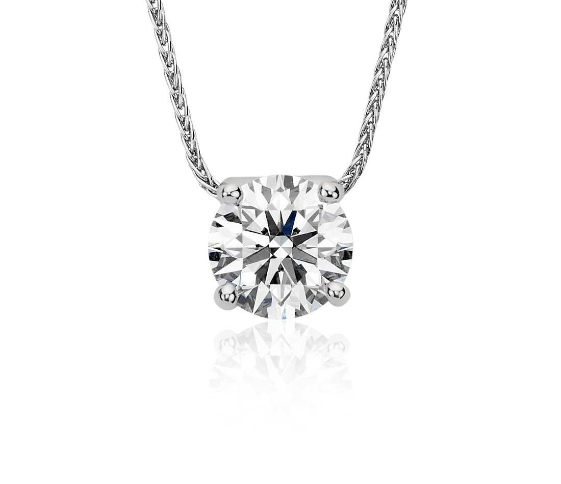 Blue Nile Signature Floating Diamond Solitaire Pendant In Platinum 1 75 Ct Tw Blue Nile Diamond Solitaire Pendant Pendant