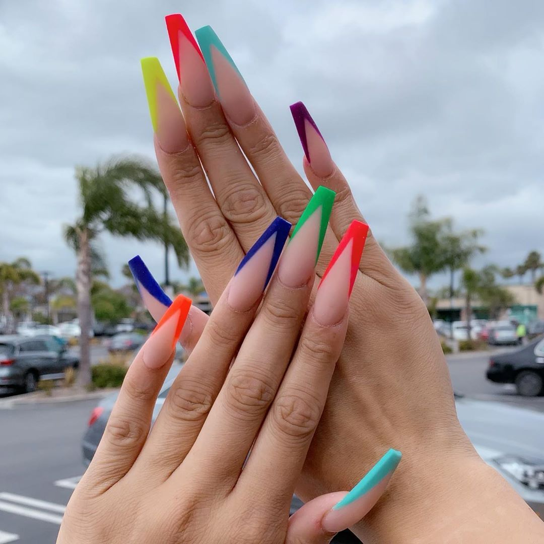 On This Gloomy Day I Decided To Add The Rainbow To Enlighten Everyone Sprites Nailsbythai Vcut French Tip Manicure Rainbow Nails Long Acrylic Nails