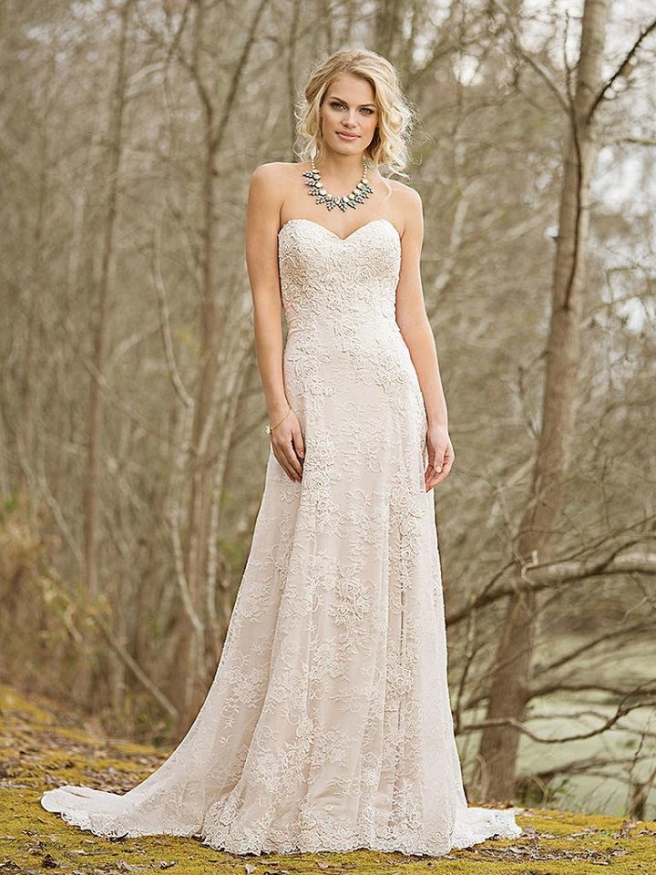 Allover Lace Applique A-Line Gown with Sweetheart Neckline