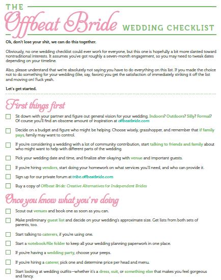 wedding day checklist for bride