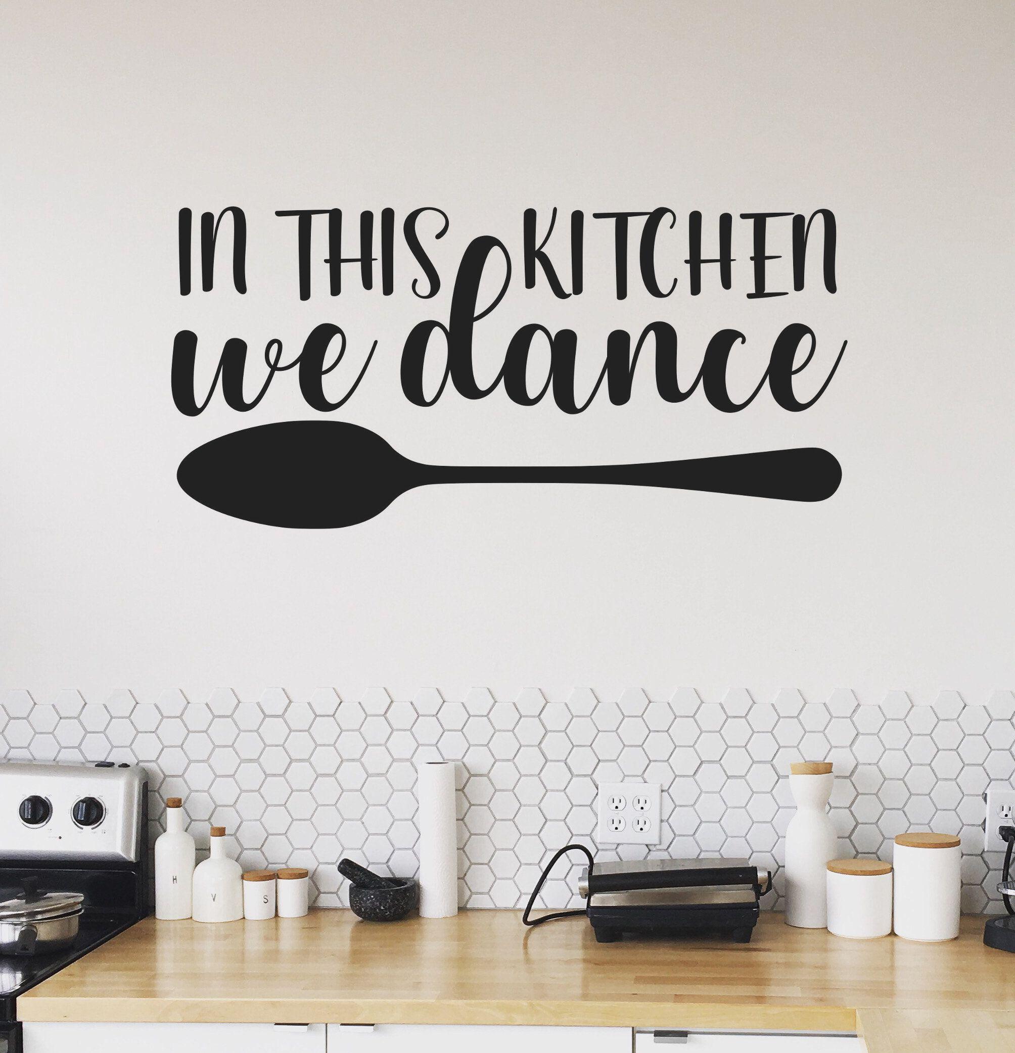 Checkered Kitchen Sign Wall Stickers Vinyl Art Decals