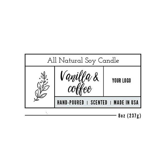 Candle Label Template, Custom Label Design, Product Packaging - product label template