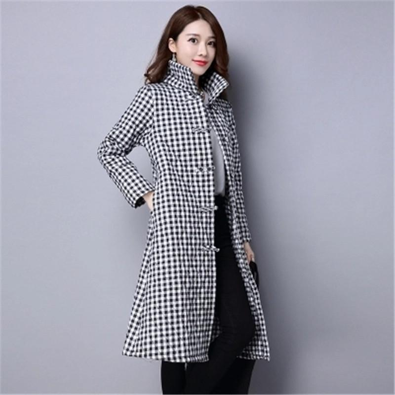 24.15$  Buy now - http://ali0sv.shopchina.info/go.php?t=32776776310 - Winter Women Plaid Jacket 2017 New Fashion Slim  Warm Casual Women Coat Medium-length High-quality Cotton-padded clothes OK31 24.15$ #buyonline
