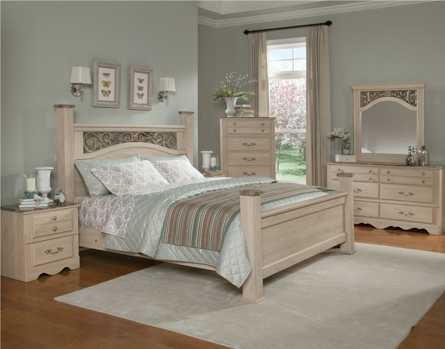 standard furniture torina poster bedroom set in light cream