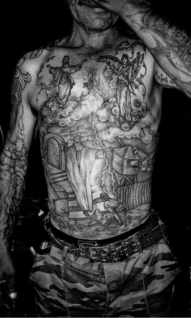 Inspiration for the tattoos on Sergei Stranvinska, an