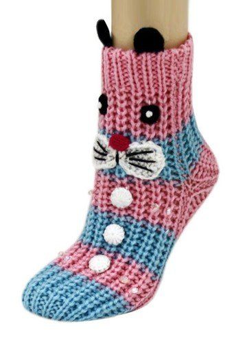 Pink and Blue Bunny Rabbit Knitted Non Skid 3d Animal Slipper Socks