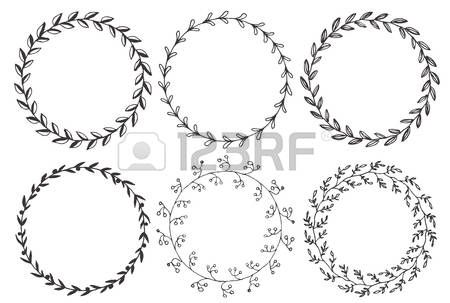 Swirl Circle Set Of Hand Drawn Vector Round Floral Wreaths
