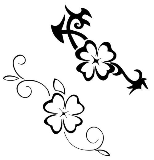 four leaf clover tattoos coloring pages