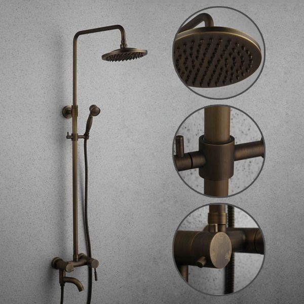 Antique Brass Tub Shower Faucet with 8 inch Shower Head Hand