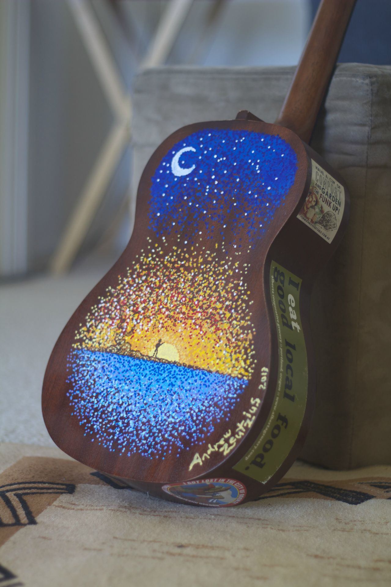 My painted ukulele artwork by andrew zeutzius - Cool designs to paint ...