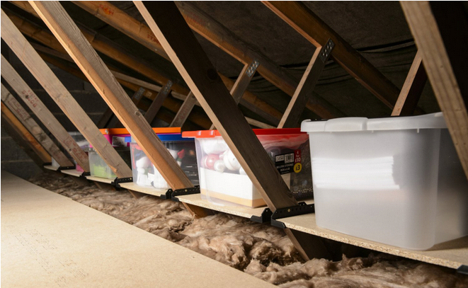 This Attic Pulley Storage System Is Genius If You Have A Bad Back Attic Storage Organization Garage Attic Storage Attic Storage