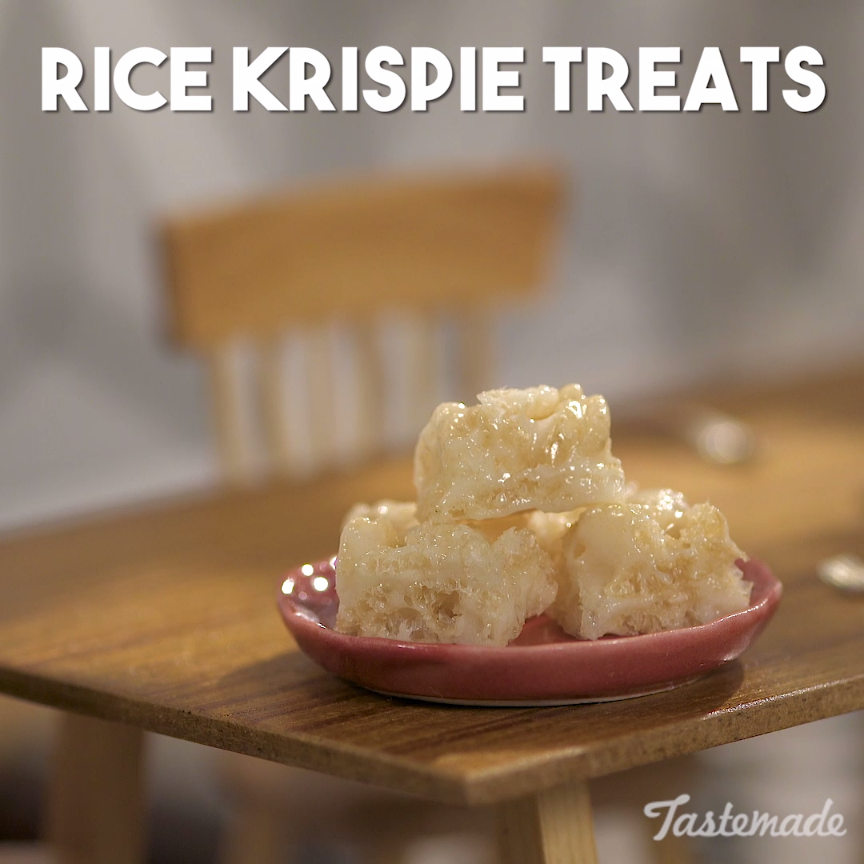 Tiny rice krispies treats recipe cereal marshmallow and app despite its size a treat with marshmallows and cereal is always yummy save the ccuart Images