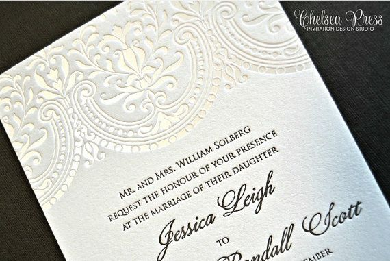 Baroque Letterpress Printed Wedding Invitation Shown With 1 Color