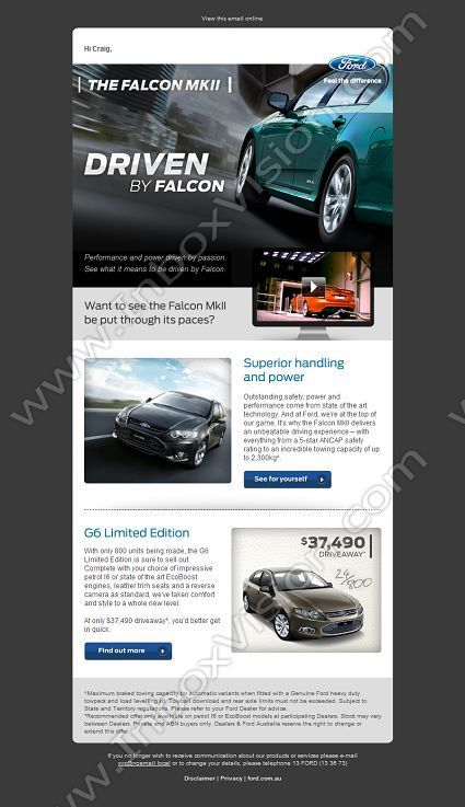 Company Ford Australia Subject See How It Feels To Be Driven By Falcon Mkii Inboxvisio Email Design Newsletter Examples Email Newsletter Template