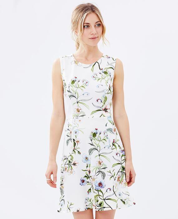38bfd03130a Elegant Floral Sleeveless Brief OL Dress
