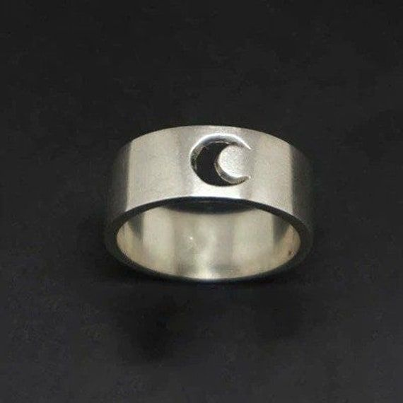 Silver Moon Ring Crescent Moon Ring Set For Couples Matching Silver Rings For Him Her Love Ring Anniversary Gift Dainty Ring Stacking Ring Product Information : Are you struggle to find a unique gift for your loved one..? Best Gift for lovers - Promise Couple Rings Set Material : 925 sterling silver Ring Size: We can make from US 5 - 11 Moon Ring Couple Ring Set Best Gift For : Lovers, Girlfriend, Boyfriend, Engagement, Husband, Wife, Wedding, Anniversary, Christmas. Let this couple rings be you