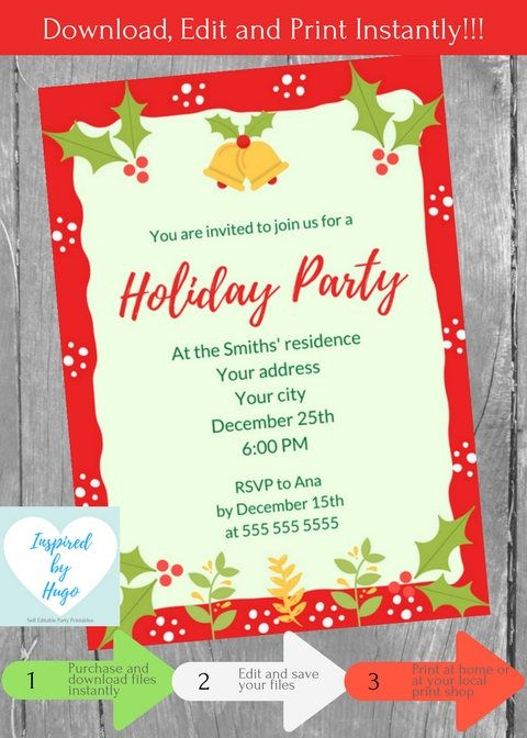 Holiday party invitation corporate family holiday dinner party holiday party invitation corporate family holiday dinner party invitation xmas instant stopboris Images