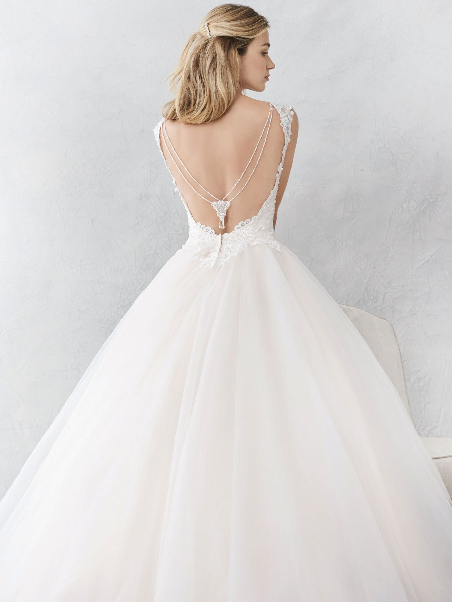 Ella Rosa Style Be381 Unique Low Back With Hanging Beaded Accent Romantic Wedding Dress Br Wedding Gown Backless Wedding Dresses Wedding Dresses Romantic