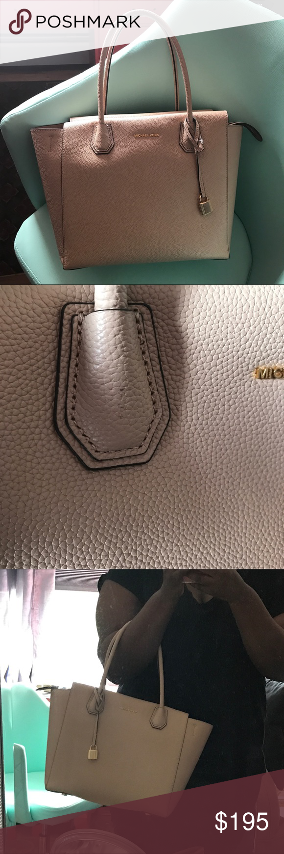 Reduced Kors Oyster Mercer Large Leather Satchel 100 Authentic Michael Selma Saffiano Coklat Has A Slight