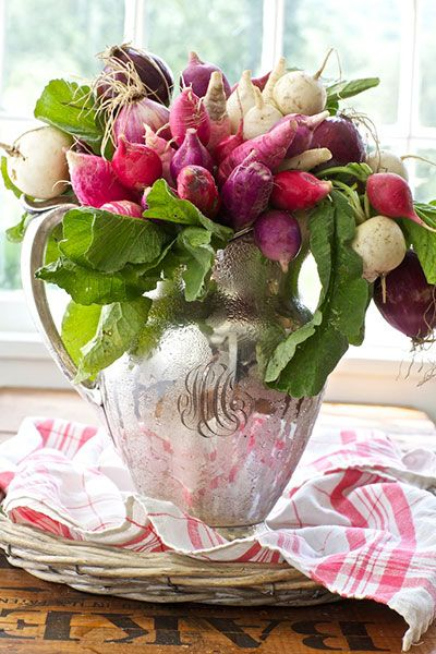 Love this vegetable arrangement in a monogrammed silver Floral arrangements with fruit